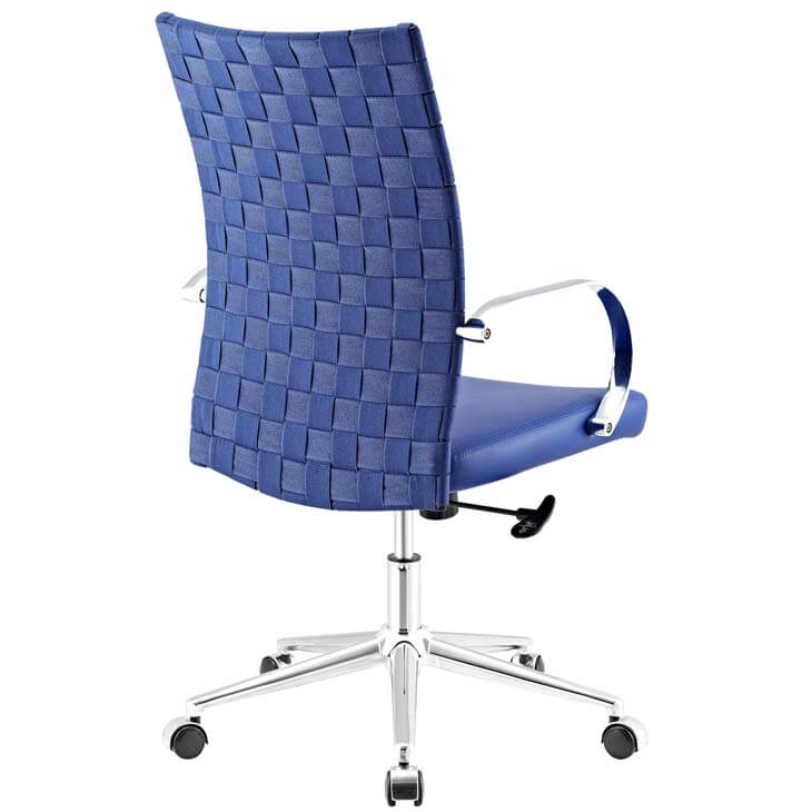 woven office chair blue 2