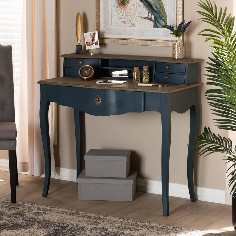 Blue Wood Writing Desk