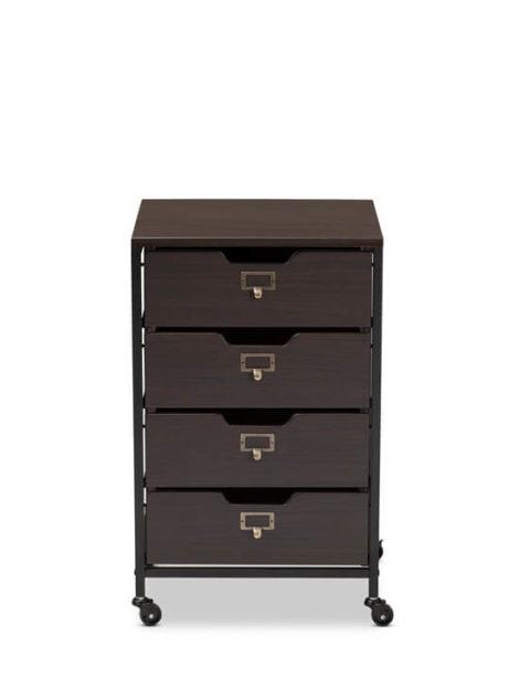 Dark Wood Rolling Drawer Storage Cabinet 1 461x615