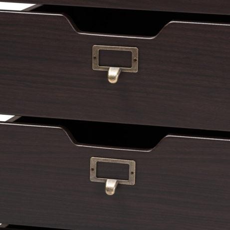 Dark Wood Rolling Drawer Storage Cabinet 3 461x461