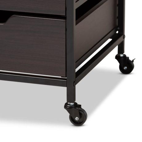 Dark Wood Rolling Drawer Storage Cabinet 4 461x461
