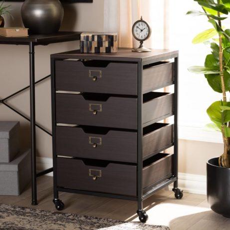Dark Wood Rolling Drawer Storage Cabinet 5 461x461