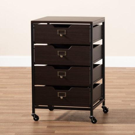 Dark Wood Rolling Drawer Storage Cabinet 6 461x461