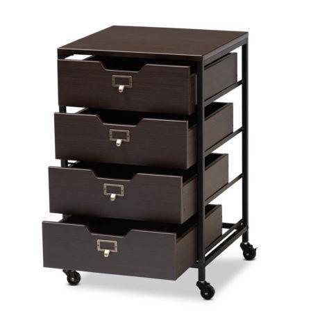 Dark Wood Rolling Drawer Storage Cabinet 9 461x461