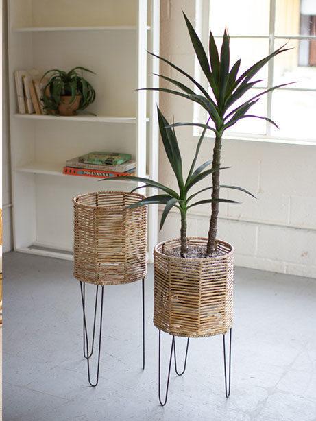 Seagrass Round Woven Planter Set 461x614